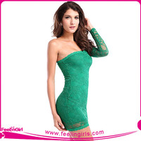 Wholesale One Shoulder Fashion Green Dresses