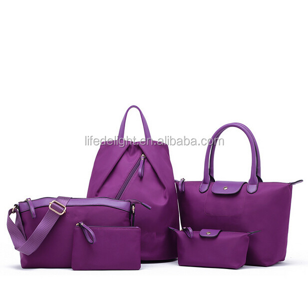 Manufacture china new fashion Luxury purple 5pcs/Set Women Handbag Messenger Shoulder Bag backpacks Purse