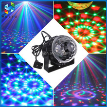 Sound-activated 3W Mini RGB Crystal Magic Ball/LED Stage Effect Light for Party Disco Light