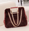 fur face chain design luxury rich ladies hand bags,latest winter design hand bags