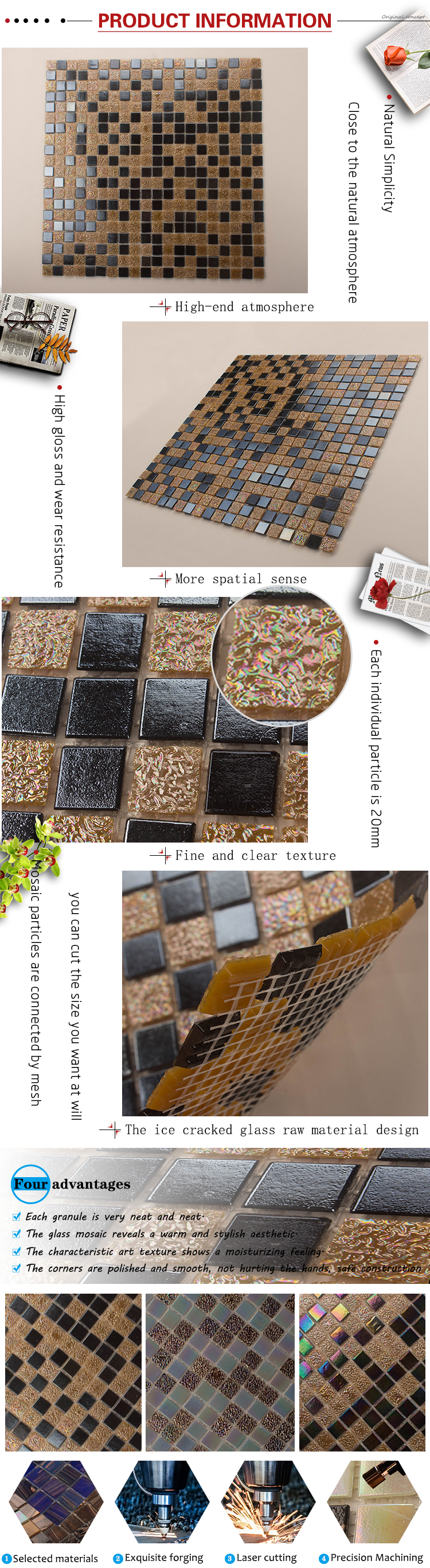 China foshan factory price 2mm swimming pool/bathroom golden wall glass mosaic