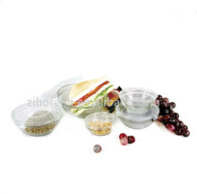 Set 5 Heat Resistant Clear Glass Salad Serving Bowl with PP Lids for Microwave oven