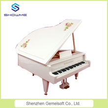 Newest home decoration vintage white piano shape music box