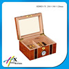 Luxury glass top solid wooden humidor cigar box with lock