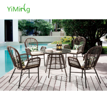 2015 fashion Popular Garden Black PE Rattan Round Dining Furniture Indoor/home rattan furniture