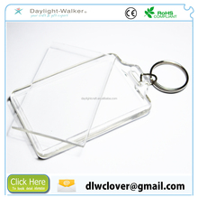 promotional clear custom plastic blank photo frame key chain picture insert logo