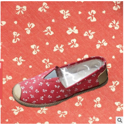 hot selling small bow-knot printed poliester fabric for shoes material
