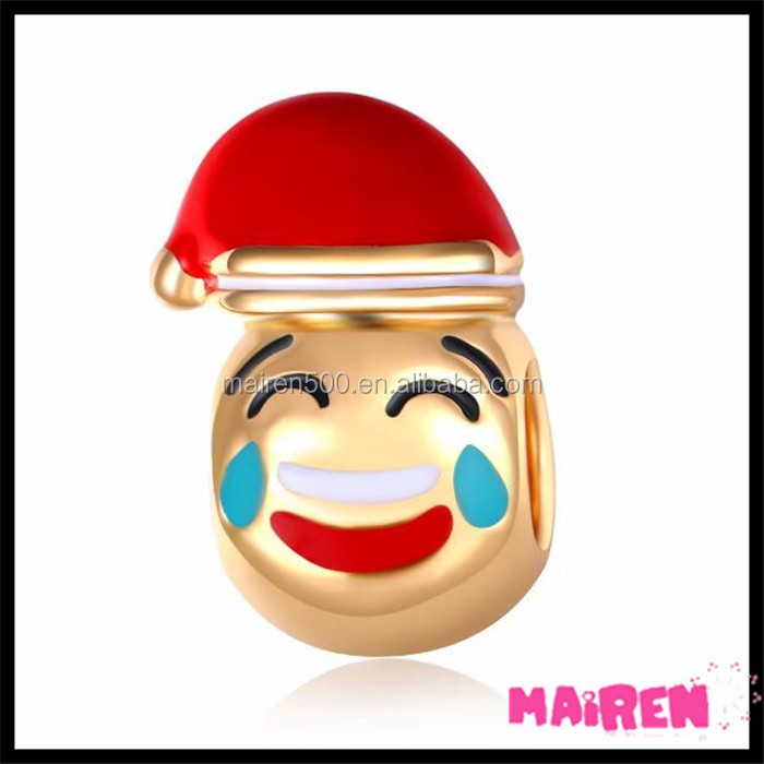 red Santa hat blow a kiss emoji charms emoji beads for bracelet making