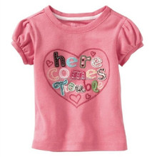 2016 new product cheap pink round neck factory direct baby cartoon washable custom brand fashion t-shirt