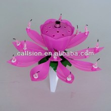 lotus shaped music birthday candle