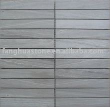 gray wood marble mosaic strip for bathroom