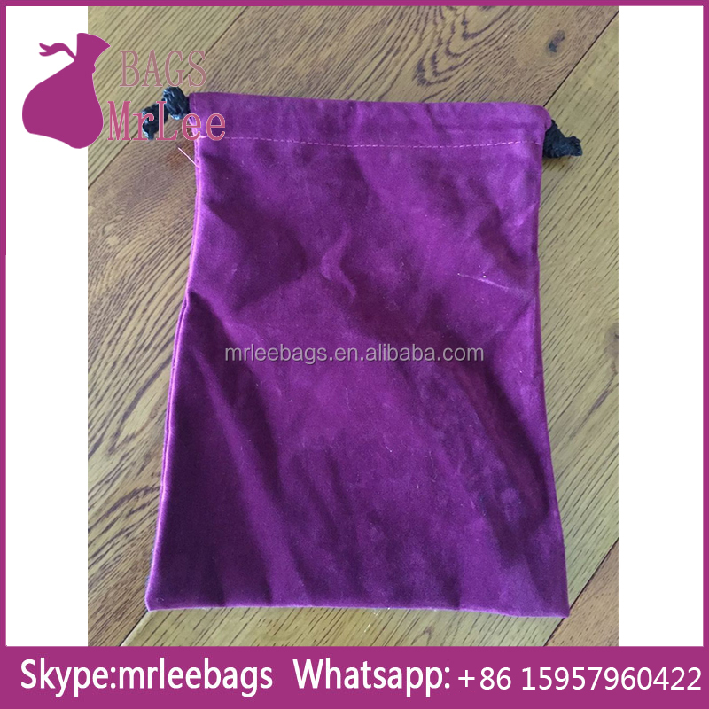 Best quality cheap price purple double suede drawstring velvet bags