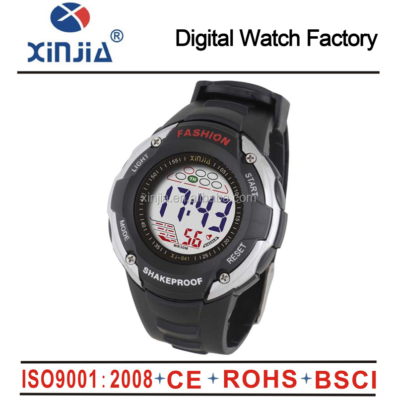 2014 plastic digital waterproof watches for men