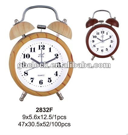 2015 Wood Metal Bell Double Table Clock (2832F)