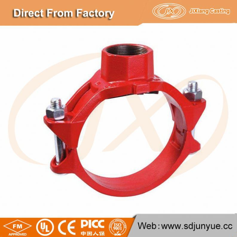 China Grooved Fitting mechanical tee threaded outlet
