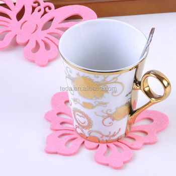 beautiful flower shape felt coaster