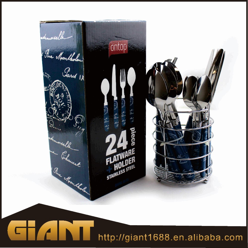 Quality guarantee 24 pcs cutlery set with PS grace handle