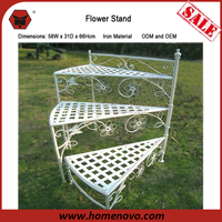 New Style 56W x 31D x 66Hcm Garden Decorative 3 Tier Metal Etagere White Iron Flower Plant Pot Stand
