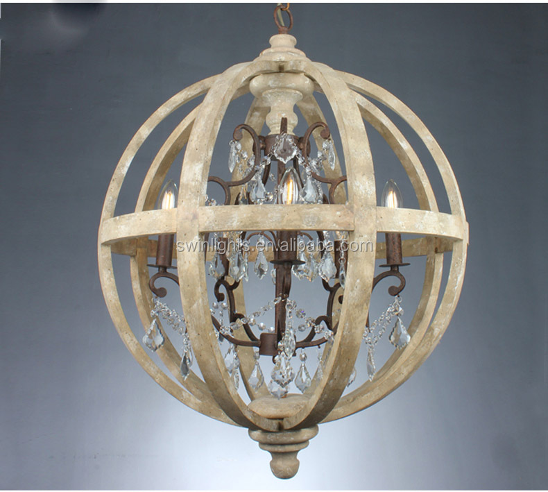 small axel orb wooden pendant light,5-lites crystal chandelier for villa/hall