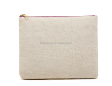 Non Brand Make Up Pouch Bag Designer Flax Plain Cosmetic Bags