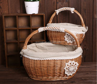 Latest new design willow wicker picnic wholesale easter storage basket for set 2/S