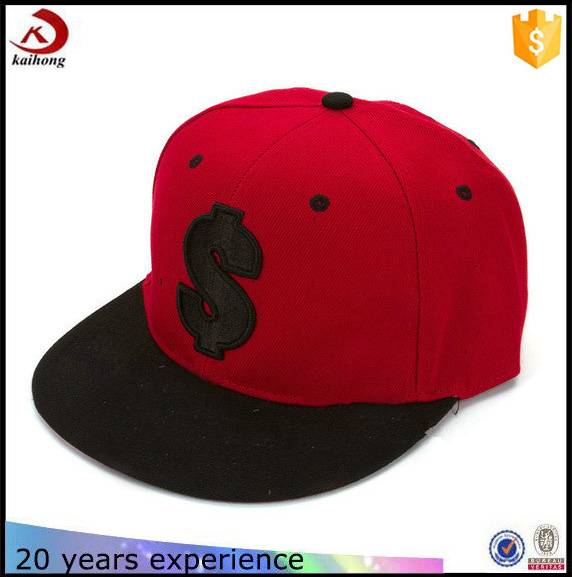 high quality custom dollar embroidered red black snapback cap/hat