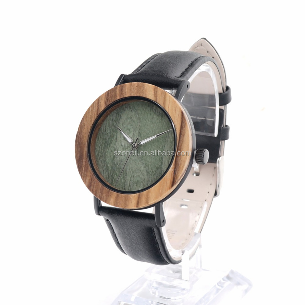 Attractive Black Color Watch Fashion New Leather Zebra Wooden Watches With Free gift box