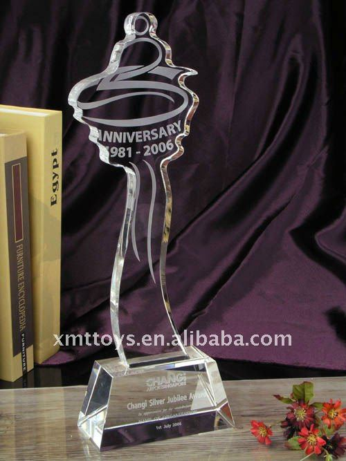 25th aniversary crystal trophy, trophy for souvenir