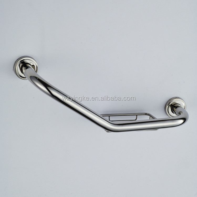 stainless steel bath tub safety grab bar for disabled bathroom accessories bathtub handrail with soap basket