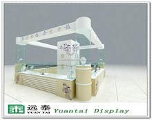 2015 high grade wooden mirrored jewelry kiosk and cabinet for shopping mall