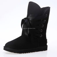 JLX5828 2015 the latest design, Australian sheepskin wool-one, lace-up women shoes, winter snow boots,factory directily provide