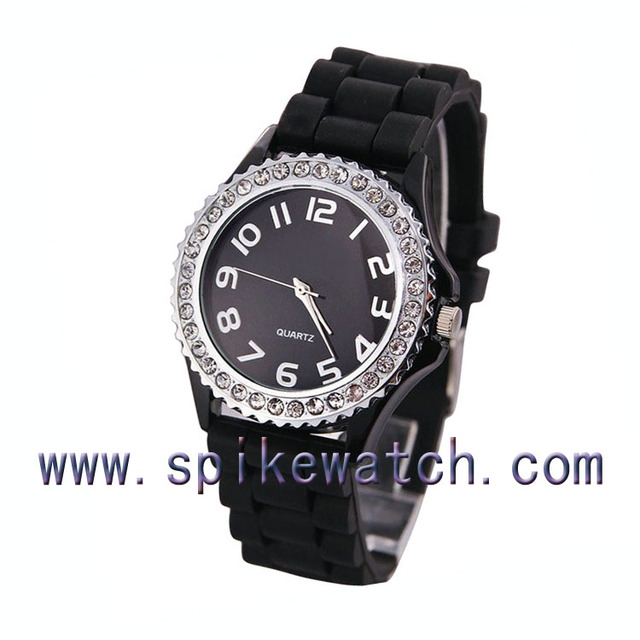 White color silicone bear print dial diamond watch dhl free shipping watch