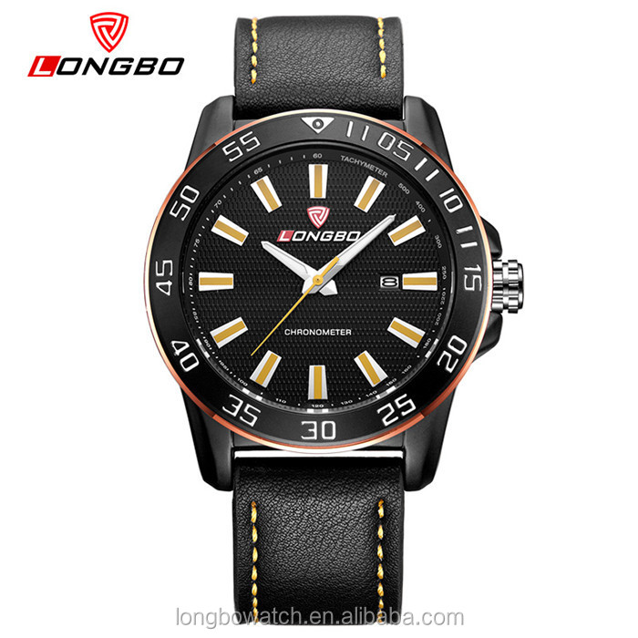 Longbo brand stainless steel case back watch custom japan movement quartz watch