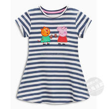 Guangzhou kids factory Peppa Clothes Homewear striped sailor <strong>dress</strong> with embroidery cotton jersey mini <strong>girl's</strong> <strong>dress</strong> side pocket