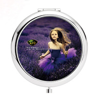 High quality silver metal pocket mirror compact mirror