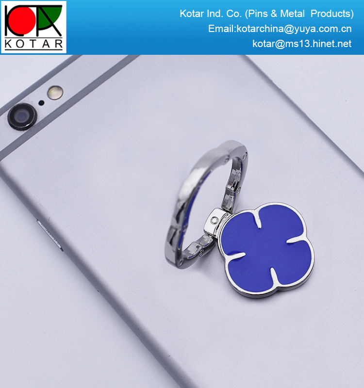 wholesale multi-functional metal mobile phone ring holder with four leaf logo