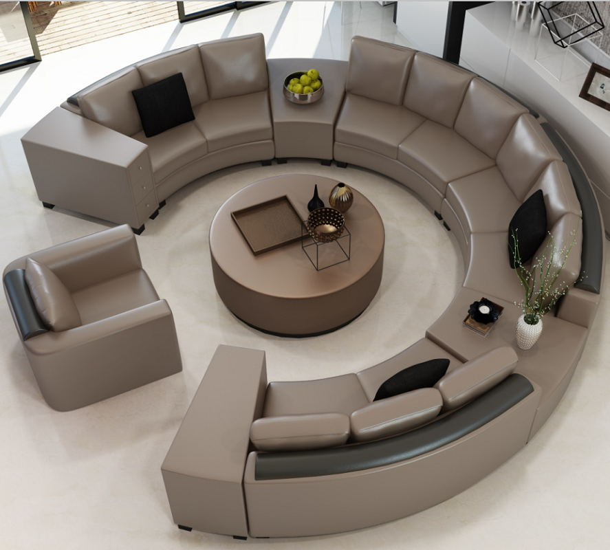 Round design modern circular sofa leather sofa A017