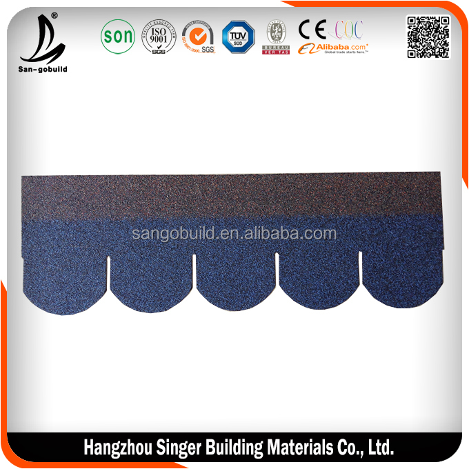 Colorful 5 tab asphalt shingle/Laminated bitumen roof shingle/tile/felt