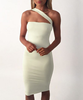 B30967A Europea new fashion white lady's strapless one-shoulder bandage dress