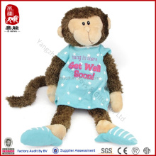 New toy 2014 China wholesale China manufacturer stock plush monkey with cloth and slipper stuffed get well soon monkey
