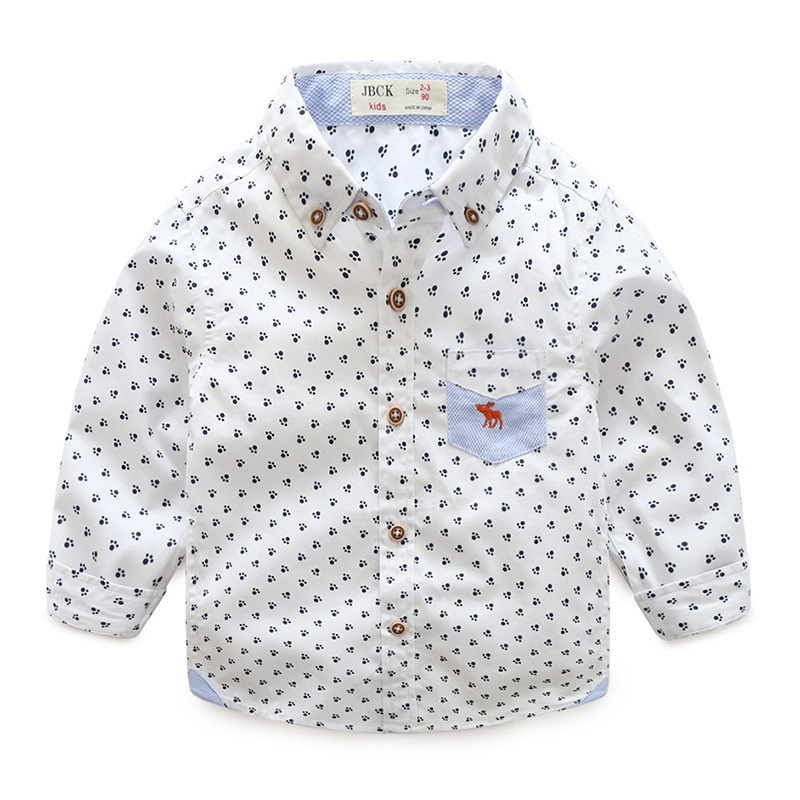 Latest new model shirts printed fabric autumn clothes new style fashion boy's shirt