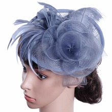 Bridal Wedding Hats for Women Sinamay Church Hat Fascicnator with feather decoration
