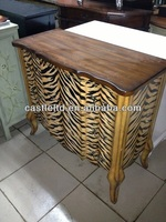 CF30101 Hand Painted Curved Console Cabinet with Tiger Print Chests Africa collection Accent Drawer Cabinet