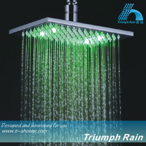 Rainfall LED Shower Head, The Color Will Change in Different Water Temperature