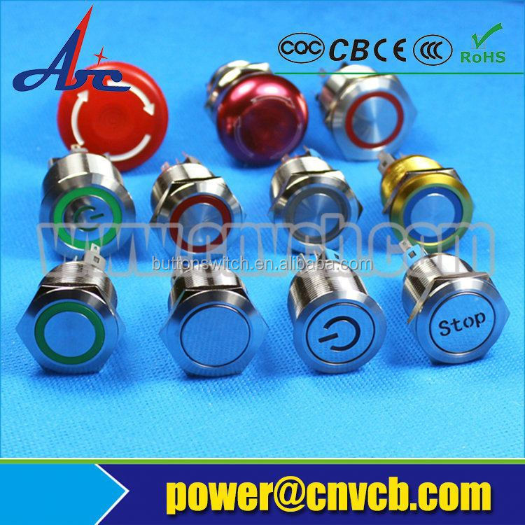 Hot Sale KVM 2 Port Switch 22mm waterproof ip67 momentary metal pushbutton switch with led