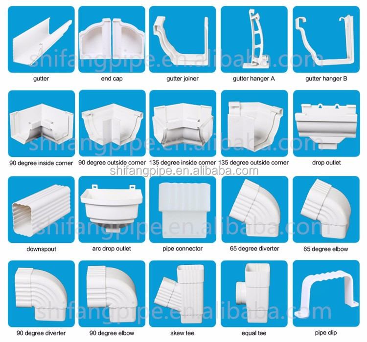 High Quality Rain Drainage System Building Material Plastic PVC Rain Gutter System DownspoutFittings gutter downspout clamps