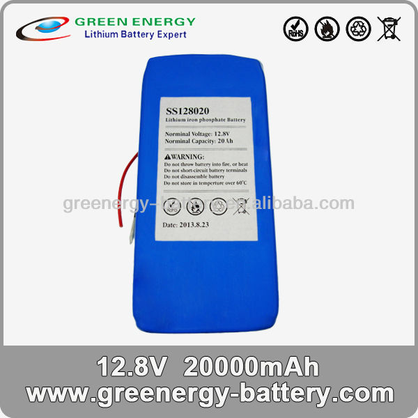 small rechargeable 12v battery lifepo4 20Ah battery pack