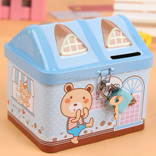 House shaped square plastic money box coin bank for kids