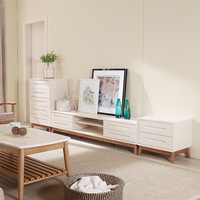 Nordic white finish wood corner TV stand for LCD