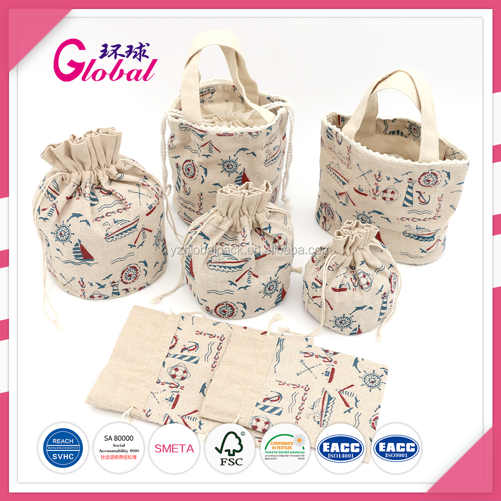 Global cotton canvas drawstring packaging organic summer beach bags